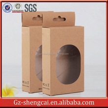 cheap customize black printing brown paper kraft box with window for USB cable