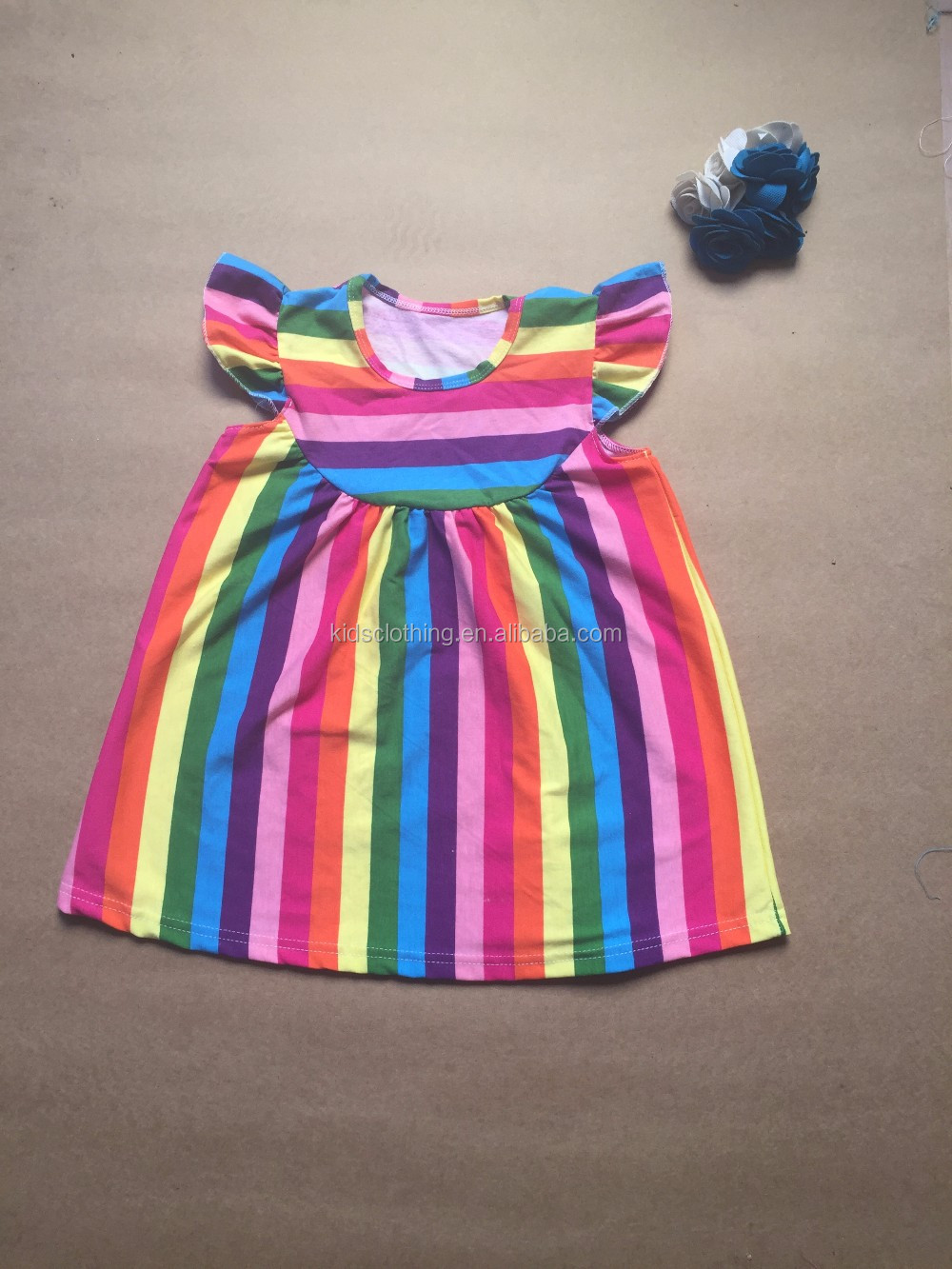 rainbow striped pearl dress children rainbow dress for summer lovely girls summer dress