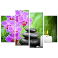 Wholesale Lilac Butterfly Orchid Canvas Artwork Zen Stone Canvas Print Decorative Candle Light Picture Printed on Canvas 4 Piece