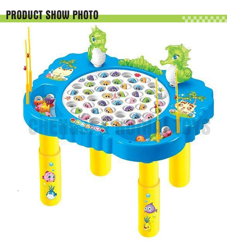 Kids Indoor Play Electronic Revolving Fish Toy Table Battery ...