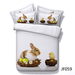 Easter Rabbit and Chicken with eggs Latest HD digital print 3d bed set