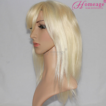 Homeage 100% hand made silk top blonde human hair glueless full lace wigs