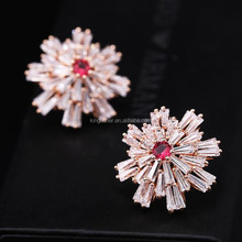 Fancy design white gold rose gold plating snowflake shape women zircon earrings wholesale
