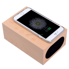 New products Qi wireless charging wooden Bluetooth Speaker with Alarm clock Temperature Handsfree Phone Charger
