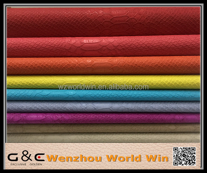 China beautiful new design comfort colorful embossed pu synthetic leather for bags shoe leather material