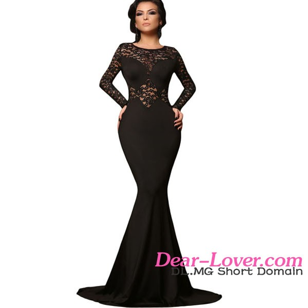 Black Lace Mermaid Prom Dress Long Sleeve Evening Dress Guangzhou