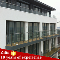 Classic style glass balustrade, round stainless baluster and handrail simple installation