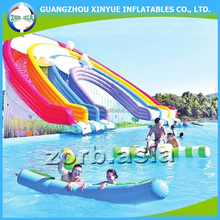 Most popular commercial grade rainbow inflatable water world with slide