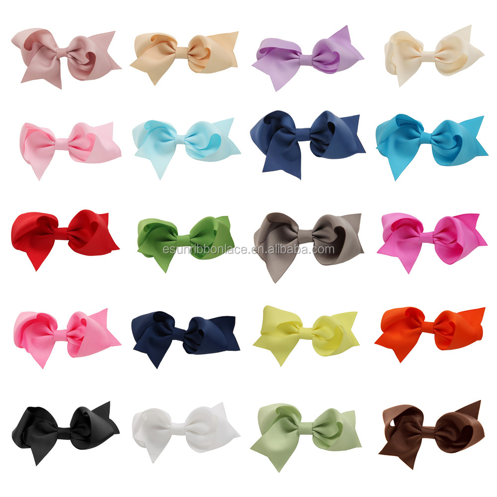 20 Colors 3 Inch Grosgrain Ribbon Hairbows Baby Girl Accessories With Clip Boutique Hair Bows Hairpins For Hair