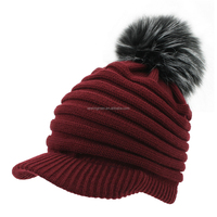 winter 100 Acrylic stretchy striped knitting hat faux fur ball top cap