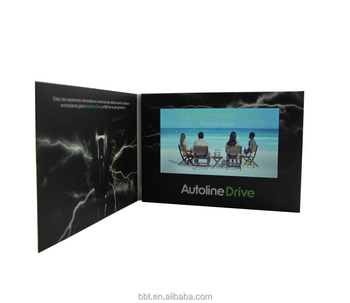 OEM printing paper video brochure 7inch lcd video brochure card softcover greeting card with matt lamination