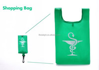 Spring fresh grass green foldable hanging nylon T-shirt shopping bag, supermarket mini hanging nylon folding bag