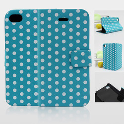 dot pattern wallet flip leather case cover for iphone 4 4s