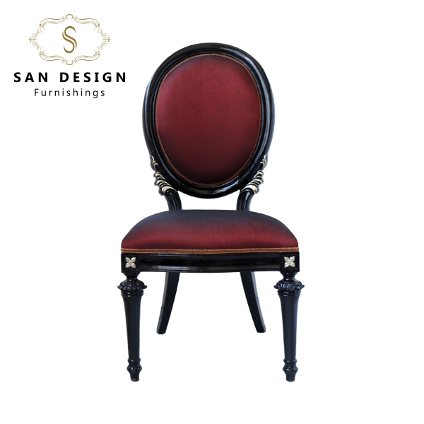 Modern style red round back wooden frame fabric living room chair