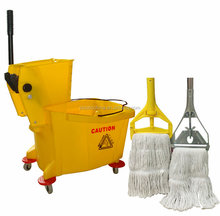 36liter trolley plastic cleaning mop wringer bucket with wheels