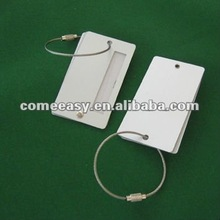 metal ring steel wire belt square aluminum luggage tag