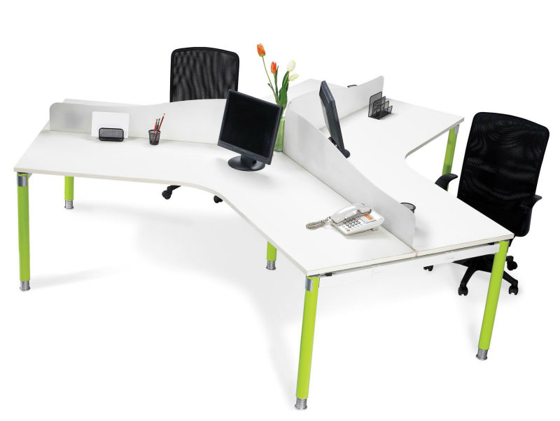 white wooden top workstation for three person