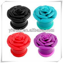 2014 New Plugs Rose Flower Single Flared Ear Gauges