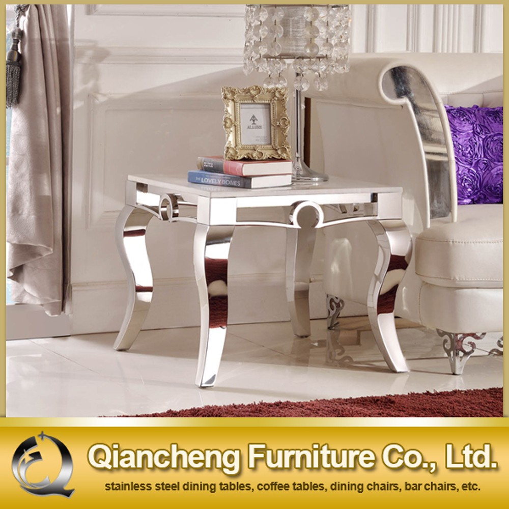 Stainless Steel Support Mirrored Marble Side Table