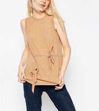 Hot Fashion Design Double knot T Shirt Summer Fashion Sleeveless Round Neckline Woman T Shirt Design