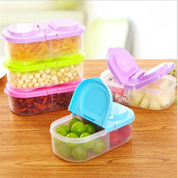 New creative PP plastic mini food containers clear fruit cereal storage 2 compartments with lid disposable