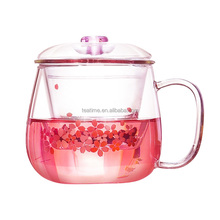 Cheap custom borosilicate glass tea/flower cup with infuser