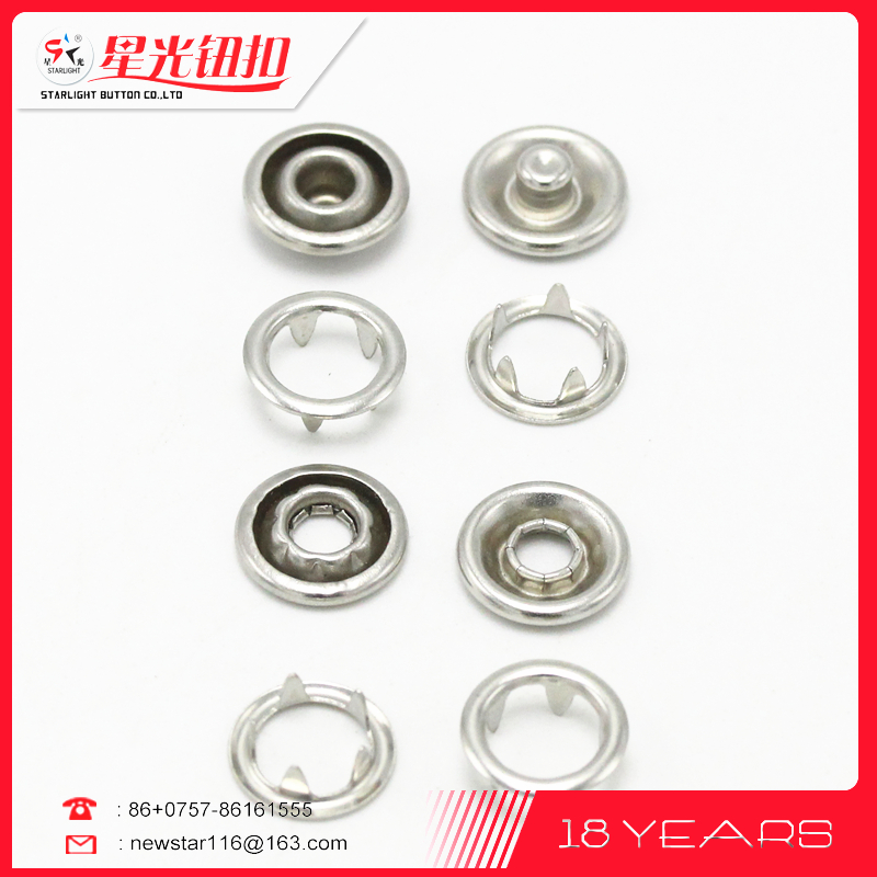 Hot sale good quality spring snap button prong ring buttons for garment clothing