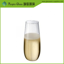 wholesale 5oz cheap glass champagne flutes,gold rim stemless champagne flutes for upscale restaurant