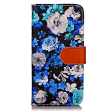 Colorful flowers painted PU flip leather phone case for iPhone7 / Plus