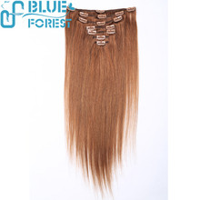 18'' Brown 100% Human Hair Extension Full Head Clip In Remy Hair Extensions-Can Be Straightened Permed & Curled Repeate