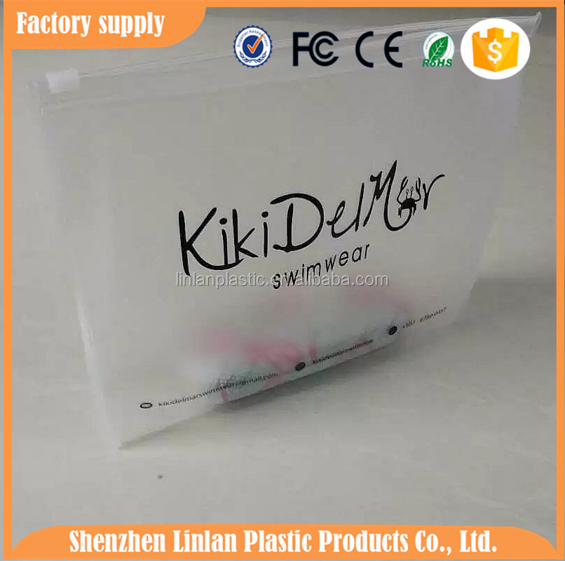 FREE customer LOGO design EVA ZIPLOCK BAG PVC SLIDER POUCHES FOR SWIMWEAR