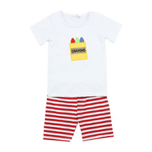 Summer boutique baby three little crayon printing short sleeve t shirt and stripe pants popular outfits