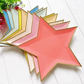 Colorful Star Shape Paper Plates With Gold Foil Edge Baby Shower Tablewares PP261