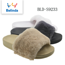 newest custom slippers fur soft slides footwear cheap shoes made in china for women