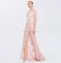 Pink Lace Overlay Long Front Slipt Floor Length Party Dress Back Zipper Beaded Prom Pageant Dress OEM