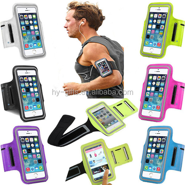 adjustable leather sport armband outdoor fitness mobile phone armband holder