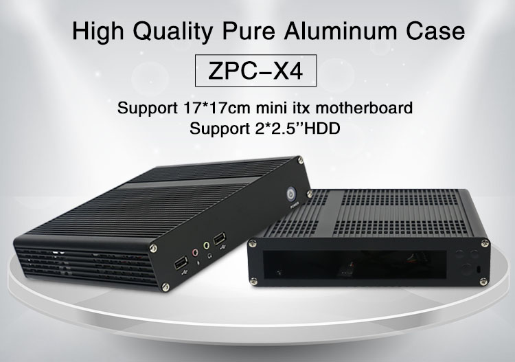 Cheap price industrial pc case ZPC-X4 mini itx case 2510 fan support 2.5 HDD