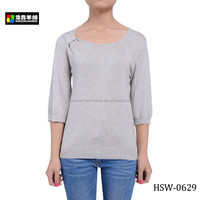 Ladies Plain Grey Pullover, Women Latest Design Pullover Sweater