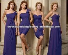 2012 best selling purple ruched chiffon custom-made bridesmaid dresses CWFab4001