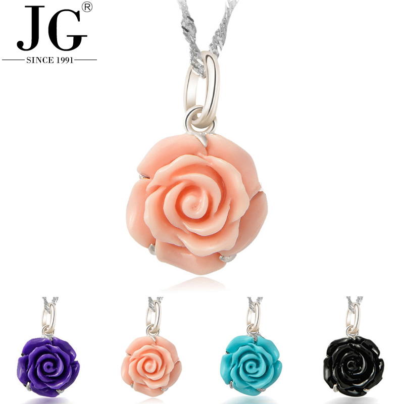 Free shipping 925 sterling silver rhodium plated jewelry artificial flower red rose synthetic turquoise stone necklace pendant