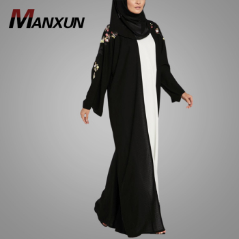 New Arrival Fashion Black Abaya Elegant Long Sleeve Turkish Style Kimono Abaya Modern Women Wear Jilbab Islamic Clothing