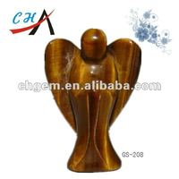 50mm yellow tiger eye stone angel carving