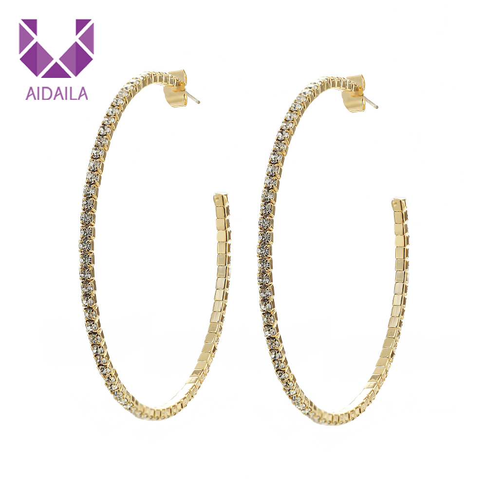 AIDAILA Women 18k Real Gold Unfading Plating Hypoallergenic Silver Needle Large Hoop <strong>Earrings</strong> With Rhinestone