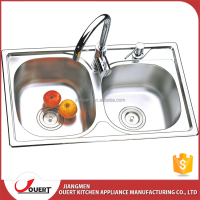 Hot sale modern double bowl with fauce and soap dispenser stainless steel kitchen sink size