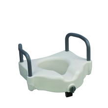 Raised toilet seat with armrest