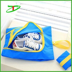 Light weight waterproof nylon running shoe bag, zipper foldable drawstring shoe bag, 3sizes suitable for all shoes storage bag