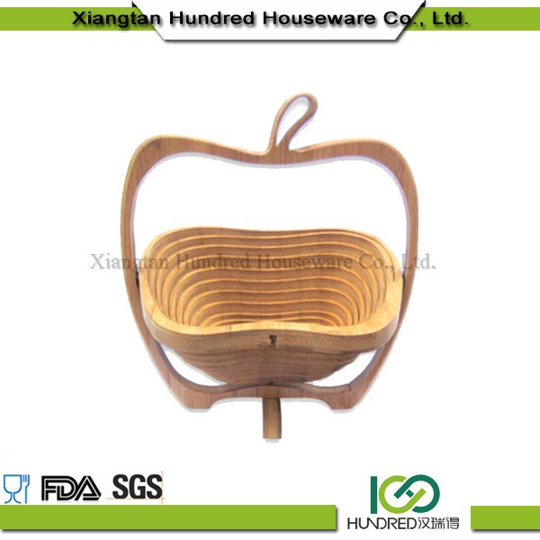 Eco-friendly folding bamboo fruit basket wooden apple shape basket fruit