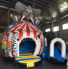 Customized commercial elephant bouncer castle inflatable bounce house with slide