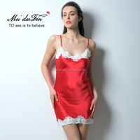 S-1609 newest comfortable and cheap elegant ladies Silk sexy nighty dress for summer