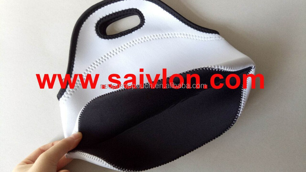 Blank white Neoprene Lunch Tote for custom sublimation